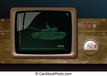 display of radar - display of military radar, depicting tank...