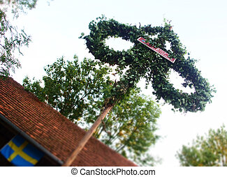 Traditional Swedish Midsummer Pole