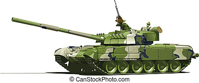 modern heavy tank - Vector color illustration of tank Simple...