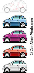 smallest car - illustration of microcar Simple gradients...