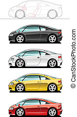 Sports car - vector illustration of sports car Simple...