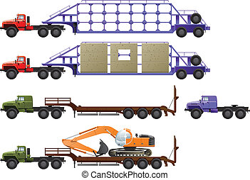 trucks - Vector color illustration of trucks . (Simple...