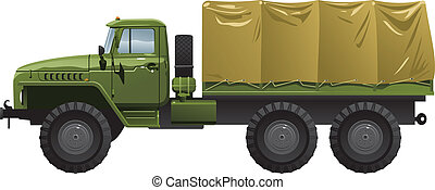 military truck - Vector color illustration of military truck...