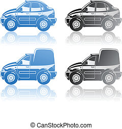 cars - A Vector eps 8 illustration of cars sedan and van...