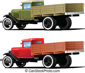 vintage truck - Vector retro lorry isolated. (Simple...
