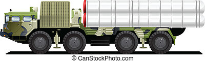 military launch vehicle - Vector color illustration of...