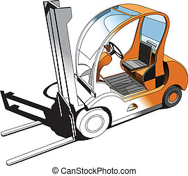 Forklift - A vector illustration of stylish small forklift....