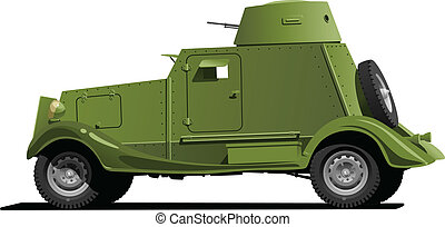 vintage armored car - Vector color illustration of vintage...