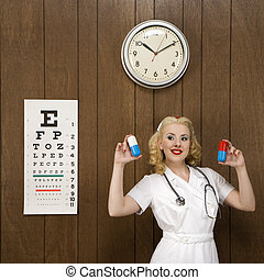Retro nurse with medicine. - Caucasian mid-adult female...