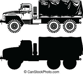 military truck - Vector black and white illustration of...
