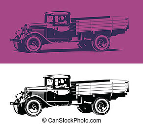 vintage truck - Vector retro lorry isolated on white and...