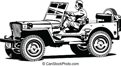 World war two army all-road vehicle - Vector illustration of...