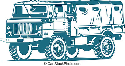 military truck - Vector one-colour illustration of military...