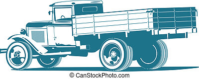 vintage truck - Vector monochrome retro lorry isolated on...