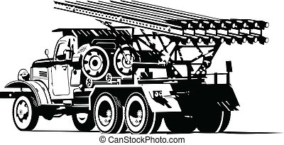Katyusha - Vector black and white illustration of Katyusha...