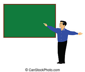 teaching concept  - man writing on blackboard with chalk