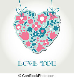 Love greetings card with floral heart