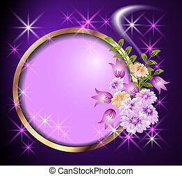 Round frame and flowers - Round frame, flowers and stars