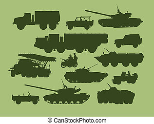 defense technology - set of vector illustrations of army...