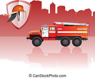 Fire apparatus - vector color illustration of fire...