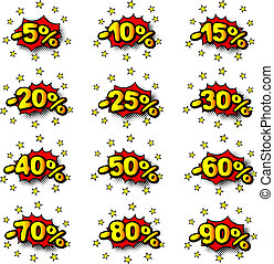 percent comic labels - vector illustration of some percent...