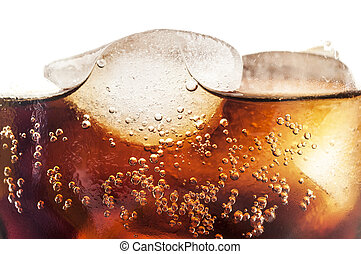 Coke - glass of cold coke with ice cubes