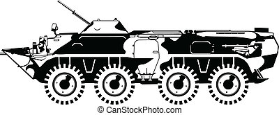 armored troop-carrier - Vector black and white illustration...