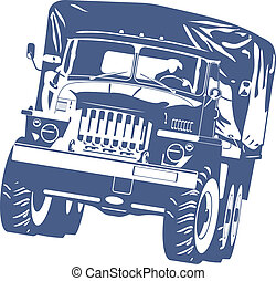 off-highway truck - Vector black and white illustration of...