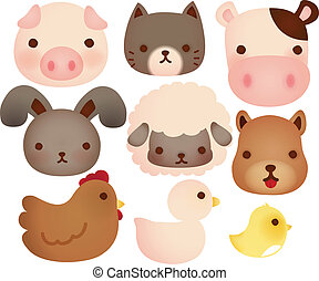 Collection of cute farm animals - Vector file EPS10