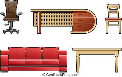 set of furniture - Vector color illustration set of...