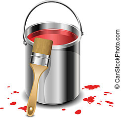 Paint bucket with paint brush