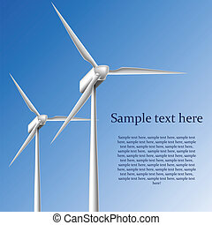 Wind generator frame on blue background