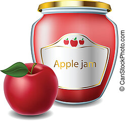 Apple jam with jar and red apple
