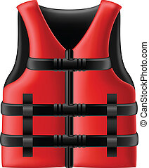 Life jacket - Red Life jacket with black belts