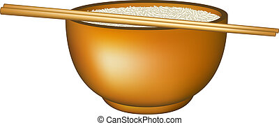 Bowl of rice and chopsticks on white background