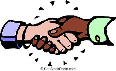 Hand shake, vector