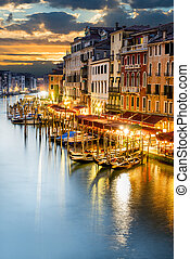 Grand Canal at night, Venice - famous grand canale from...