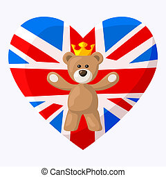 English Teddy Bear - Teddy Bear with crown and heart with...