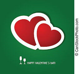 Two red hearts on dark green background. Valentine`s card.