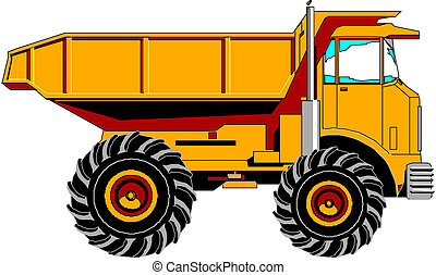 yellow truck on the white background