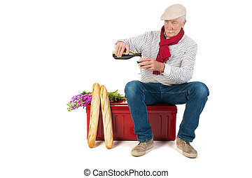 French man with bread and wine - Typical French man with...