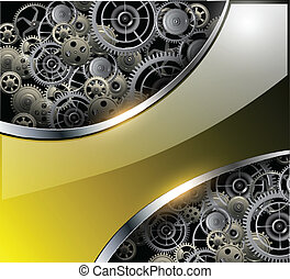 Abstract background with technology metal gears and...