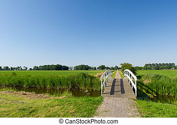 Bridge in landscape - Small wooden white bridge in...