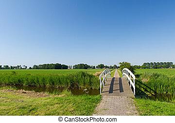 Bridge in landscape - Small wooden white bridge in...