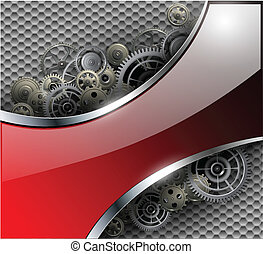 Abstract background metallic with gears, vector illustration...
