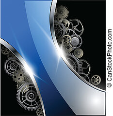 Abstract background glossy with gears, vector illustration