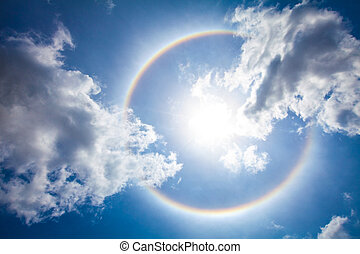 The sun halo on the thailand sky