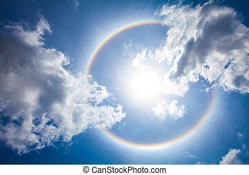 The sun halo on the thailand sky