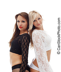 Alluring sexy dancers posing in lace outfits - Portrait of...