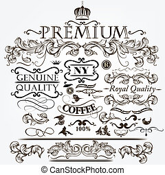 Collection of vector vintage decora - Vector set of...